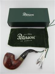 Sale 8423 - Lot 636 - Peterson of Dublin Sherlock Holmes Pipe with Sterling Silver Ring - in box with felt bag and multitool; t/w 50g pouch of Pipeman t...