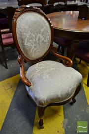 Sale 8500 - Lot 1095 - Pair of 19th Century Danish Possibly Mahogany Side Chairs, the balloon backs carved with ribbons, upholstered in cream damask & on c...