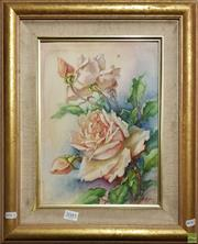 Sale 8604 - Lot 2085 - A Greenaway - Rose Still Life oil on canvas board 48 x 40cm (frame size) signed lower right