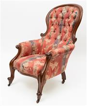 Sale 8980J - Lot 59 - An Australian Colonial cedar armchair C: 1865.The hoop and waisted back upholstered in diamond buttoned cream leaf pattern woven bro...