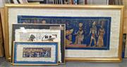 Sale 9065 - Lot 2039 - Group of (3) Ancient Egyptian Style Papyrus Works (largest: 78 x 160cm)