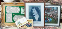 Sale 9103M - Lot 589 - A group of framed works of the British Royal family including  a gilt framed display of crochet works of the Royal visit in 1954, fr...