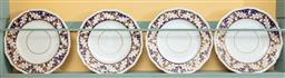 Sale 9120H - Lot 218 - A set of four early Crown Derby blue and gilt decorated plates, Diameter 26cm