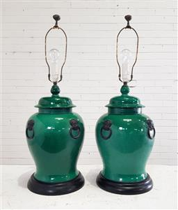 Sale 9179 - Lot 1049 - Pair of Chinese Lidded Covered Vase Form Table Lamps, in dark green glaze, with black highlight foo dog faux handles (h:85cm)