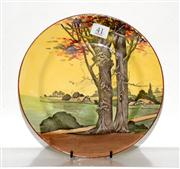 Sale 8088A - Lot 41 - A Royal Doulton country scene plate C. 1928