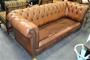 Sale 8161 - Lot 1088 - Three Seater Chesterfield Lounge ( Damage to Cushions and Unmatching)