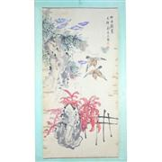 Sale 8258 - Lot 28 - Jin Mengshi Signature Birds & Flowers Watercolour Scroll