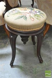 Sale 8291 - Lot 1046 - Victorian Carved Rosewood Stool, with tapestry top, inverted finial & cabriole legs