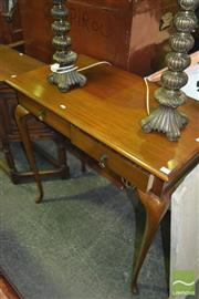 Sale 8380 - Lot 1063 - Timber Side Table with Two Drawers on Slim Cabriole Legs