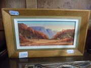Sale 8429A - Lot 2088 - Henk Guth - Central Australian Landscape, 8.5 x 18.5cm, signed lower left