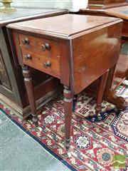 Sale 8485 - Lot 1038 - Small Victorian Mahogany Pembroke Table, with two drawers & turned legs