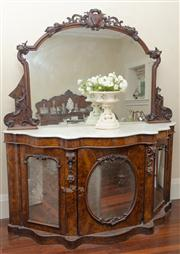 Sale 8470H - Lot 24 - A Victorian figured walnut credenza with carved mirror back, white marble top and three carved mirror panelled doors, H 190 x W 178...