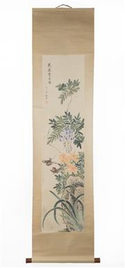 Sale 8536 - Lot 54 - Chinese scroll depicting birds and flowers, signed, L190cm