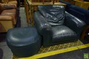 Sale 8550 - Lot 1246 - Green Leather Armchair & Ottoman (2)