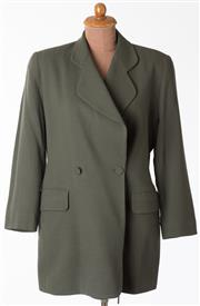 Sale 8550F - Lot 111 - A pure wool double breasted Carla Zampatti mid length jacket in dark olive green, size 12.