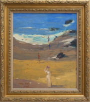 Sale 8677B - Lot 637 - Daryl Isles, Beach study with figures, oil on pelt, 44 x 37, signed and dated 1999 lower left