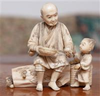 Sale 8963H - Lot 51 - A Meiji ivory okimono of a man seated with a basket of eggs with a child, signed to base, Height 10cm