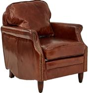 Sale 9010F - Lot 3 - A PAIR OF AGED LEATHER ARM CHAIRS WITH BRASS STUD DETAIL H:80 W:73 D:80cm