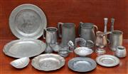 Sale 9055H - Lot 99 - A quantity of pewter ware including tankards, dishes, and small wares.