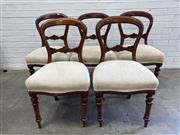 Sale 9085 - Lot 1087 - Set of Five Victorian Mahogany Balloon Back Dining Chairs, upholstered in cream fabric & raised on turned legs (h:87 x w:50 x d:45cm)