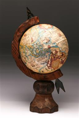 Sale 9110 - Lot 341 - Rustic globe on timber stand (h:38cm)