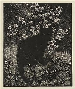 Sale 9130 - Lot 2010 - Lionel Lindsay The Black Cat lithograph, 13 x 10cm, 38 x 34cm (frame) signed in plate -