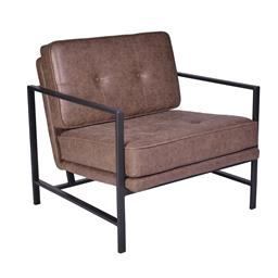 Sale 9180F - Lot 38 - A pair of brown PU leather upholstered armchairs with a powder coated steel frame. W 75cm D 77cm H 75cm