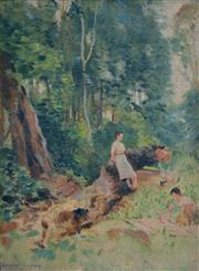 Sale 8000 - Lot 177 - Norman Carter (1875 - 1963) - The Wood at the Back oil on canvas on board