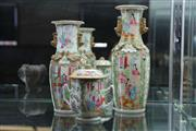 Sale 7998 - Lot 27 - Chinese Polychrome Vases x 2 and Lidded Pot