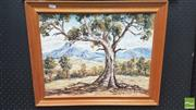Sale 8282A - Lot 95 - After D'Arcy Doyle - Landscape with Gum Tree 34.2 x 44.6cm
