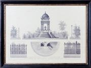 Sale 8341A - Lot 14 - An antique style French architectural print, Fontaine des Innocents & Clotures de Squares, 56 x 76cm including frame