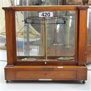 Sale 8369 - Lot 54 - Cased Set of Scales & Weights
