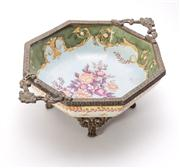 Sale 8376A - Lot 30 - An Australian Embelish Ware Jardiniere with floral motif, stands on four brass legs, W: 24cm, ht 8cm
