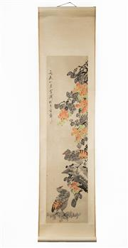Sale 8536 - Lot 55 - Chinese scroll depicting birds and flowers, signed, L195cm