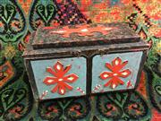 Sale 8539M - Lot 251 - Mysterious Box Apparatus, brightly handpainted, some damage. 48 cm W x 31cm H