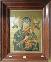 Sale 8604 - Lot 2079 - A Timber Frame with a Russian Orthodox Religious Print 59 x 49cm