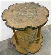 Sale 8972H - Lot 42 - An  Antique French side table c1880-1910 with brass gallery, Height 75cm x Width 49cm x 47cm
