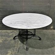 Sale 8975K - Lot 3 - Dining Table with White Marble Top above Cast Iron Base - 130cm diameter