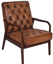 Sale 9010F - Lot 4 - A PAIR OF OLD SADDLE LEATHER BUTTON BACK ARM CHAIRS. WITH A MID CENTURY STYLE TIMBER SHOW FRAME . H:93 W: 72D:83cm
