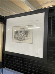 Sale 9016 - Lot 2033 - Max Mannix, Local Gossip, 1979  ink on paper, frame: 42 x 48 cm, signed and dated lower left