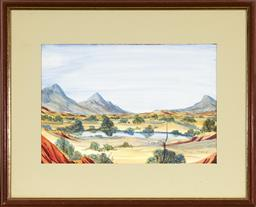 Sale 9072 - Lot 2060A - Thomas Stevens Yamanaka central Australian Landscape watercolour, 25 x 37 cm, (frame: 44 x 54 cm, signed lower right -
