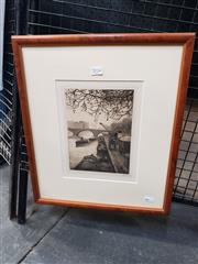 Sale 9082 - Lot 2014 - Marcel Julien Banon Canal Scene etching, frame: 44 x 39 cm, signed lower right -
