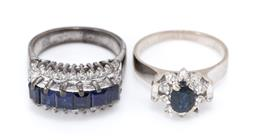 Sale 9177 - Lot 317 - TWO VINTAGE DIAMOND AND STONE SET RINGS; an 18ct white gold blue sapphire and single cut diamond cluster (sapphire chipped) other wh...