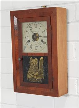 Sale 9215 - Lot 1054 - Late 19th Century American Rosewood Veneered Wall Clock, with painted dial & two train movement, the glass panel door with transfer...