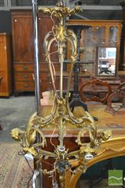 Sale 8267 - Lot 1057 - Antique Style Brass Ceiling Light, with three leaf capped ribs & six branched flanked by putti