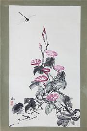 Sale 8407 - Lot 97 - Chinese School Artist Unknown - Flowers and Dragonfly