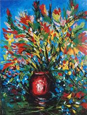 Sale 8514A - Lot 5087 - Kevin Charles (Pro) Hart (1928 - 2006) - Flowers in Red Vase 75 x 55cm