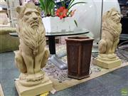Sale 8629 - Lot 1017 - Pair of Ornamental Seated Concrete Lion