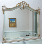 Sale 8677B - Lot 640 - French carved and painted mirror with surmount in duck egg blue with gilt highlights H x 110, W x 118cm