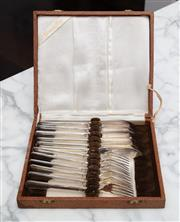 Sale 8782A - Lot 82 - A set of silver plated fish service by Grosvenor for six persons in a presentation box.